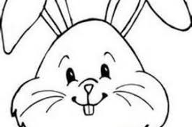Rabbit 1 Face Cartoon Black White Line Coloring Sheet Colouring