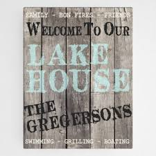 Personalized Canvas Wood Grain Welcome To Our Lake House Wall Art With Free