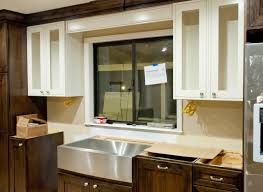 Kohler Whitehaven Sink Accessories by Decorating Silver Apron Sink On Wooden Cabinet With White Handle