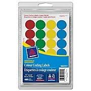 AveryR Assorted Print Or Write Removable Round Colour Coding Labels 3 4