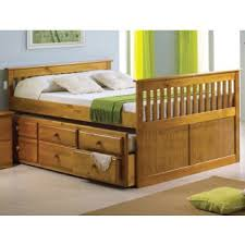 full captain s bed with trundle and 3 storage drawers honey