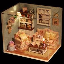 DIY Dollhouse Toy Wooden Miniature Furniture Kit LED Light Gift