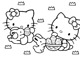 Hello Kitty Happy Easter Coloring Page Printable