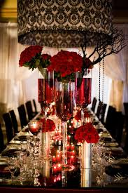 Table Setting For A Red Black And White Wedding With Roses Damask Print