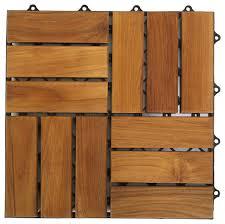 U Snap Interlocking Wood and Floor Tiles Solid Teak Wood Set of
