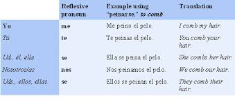 Spanish Reflexive Pronouns Examples