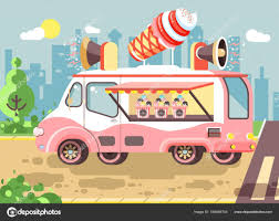 100 Snack Truck Vector Illustration Cartoon Car With Refrigeration Unit Truck For