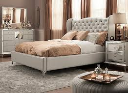 Hollywood Loft 4 pc Queen Bedroom Set Frost Mirrored