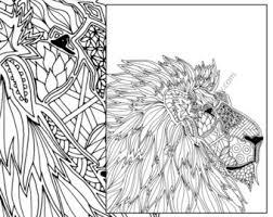 Animal Coloring Page Adult Digital Lion Pdf Zentangle Printable Book