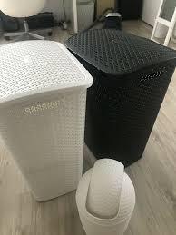 wäschekorb wäschekörbe badezimmer mülleimer weiß schwarz