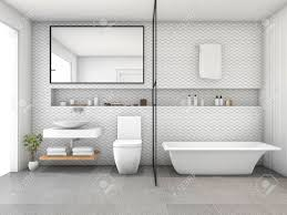 modernes badezimmer der weißen fliese der wiedergabe 3d der hexagon