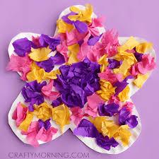Paper Plate Tissue Flower Craft For Kids