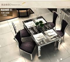 Dining Table Sets Black Marble 4 Chairs Modern Stylish Room Set Cheap