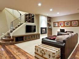 Ravishing Living Space With Rustic Wood Flooring Also Dark Leather Sofa
