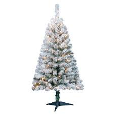 Pre Lit Flocked Christmas Tree by Holiday Time Pre Lit 4 U0027 Greenfield Flocked Pine Green Artificial