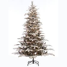 Pre Lit Flocked Christmas Tree Canada by 7 5 Ft Pre Lit Led Flocked Balsam Wrgb Artificial Christmas Tree