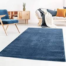 taracarpet kurzflor designer uni teppich weich fürs wohnzimmer schlafzimmer esszimmer oder kinderzimmer gala dunkel blau 160x230 cm