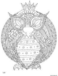Coloriage Owl With Tribal Pattern Adulte JeColoriecom