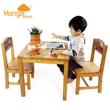 Solid Wood Kids Table Chair Set Study Desk Dining Children Chalkboard Game