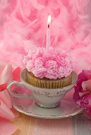 Download Pink Cupcake With Candle In Teacup Stock Image Image of celebration cupcake