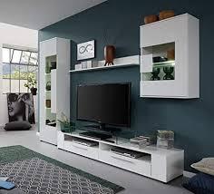 trendteam wohnzimmer anbauwand wohnwand wohnzimmerschrank jump 265 x 182 x 39 cm in korpus weiß front weiß glanz mit viel stauraum und ablagefläche