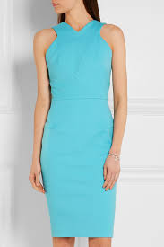roland mouret wilton stretch cotton canvas dress turquoise in