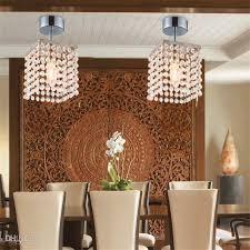 2pcs Mini Semi Flush Mount In Crystal Chandelier Modern Chandeliers Ceiling Lamp Entrance Hallway Light Chrome Best Price