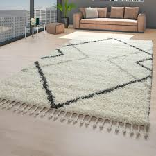 shaggy teppich beige wohnzimmer hochflor weich skandinavisch fransen rauten größe 80x150 cm
