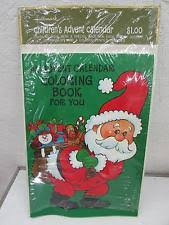 Vintage Hallmark Christmas Childrens Advent Calendar Coloring Book Card IOP