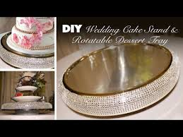 DIY Bling Wedding Cake Stand Rotatable Dessert Tray YouTube