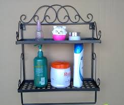 Free Shipping 2 Tier Iron Craft Wall Rack Vintage Shelf Bathroom Towel Bar Decoration Handicraft Accessory In Shelves From Home