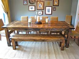 Barn Wooden Rectangle Farmhouse Dining Room Table With Bench Also Brown Armless Chairs