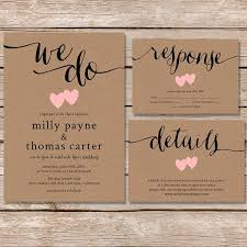 Rustic Wedding Invitation Kraft Paper Invite Set Modern Vintage Printable
