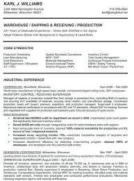 Sample Resume For Warehouse Supervisor