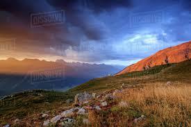100 Muottas Muragl Fiery Sky And Dark Clouds On High Peaks Of At Sunset