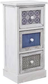 mobili platzsparende kommode schubladenschrank mit 3 schubladen holz weiß grau blau design vintage für hauseinrichtung schlafzimmer