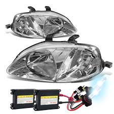 hid xenon 99 00 honda civic replacement headlights chrome
