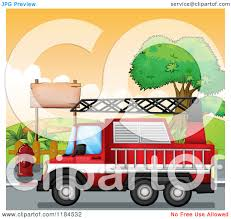 100 Fire Truck Clipart Cartoon Of A Passing A Park Royalty Free Vector