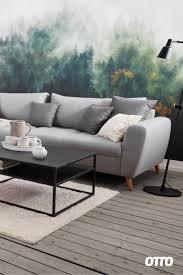 wohnzimmer minimalismus meets greenery tapete wohnen
