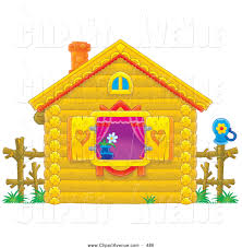 Cute Yellow Log Cabin With Purple Drapes Heart Shutters And A Flower In The Window