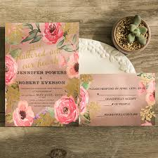 Pink Rustic Wedding Invitations Romantic Floral Spring Gold Foil Awesome