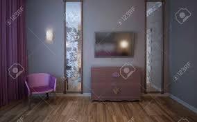 wand mit tv große vertikale gemusterten spiegel rosa vorhang und sessel im schlafzimmer 3d übertragen