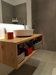 waschtisch regal holz eiche massiv baumkante fensterbank bad
