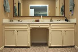 Beige Bathroom Design Ideas by Chrome Handle Bar On The Top Wooden Vanity With Storage Shelves