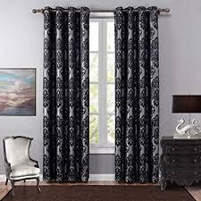 naturer vorhänge blickdicht 2er set mit ösen 140x220 schwarz blumen jacquard muster thermo verdunklungsvorhänge gardinen verdunkelung für schlafzimmer