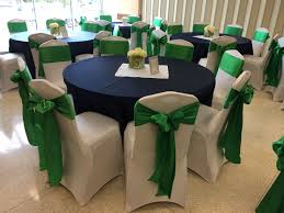 Navy Blue Lamour Tablecloths, White Spandex Chair Covers (on ...