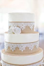 Burlap And Lace Wedding Cake Rustic Vintage Shabby Chic