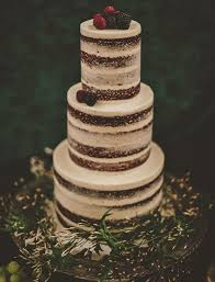 Layered Naked Wedding Cake With Berries