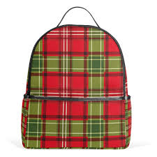 Amazoncom Christmas Red Green Plaid School Backpack Canvas