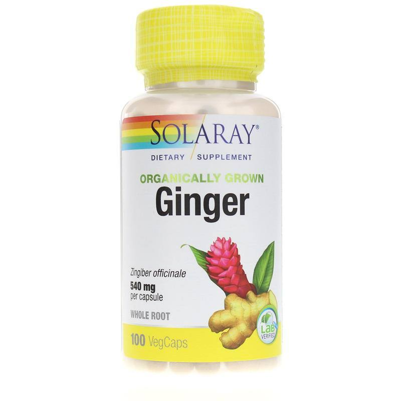 Solaray Organic Ginger Root - 540mg, 100 Vegetarian Capsules